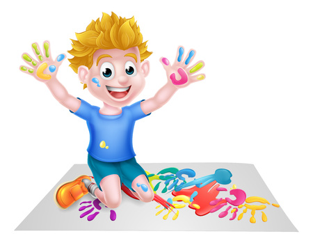 Cartoon boy kid messy playing with paint painting