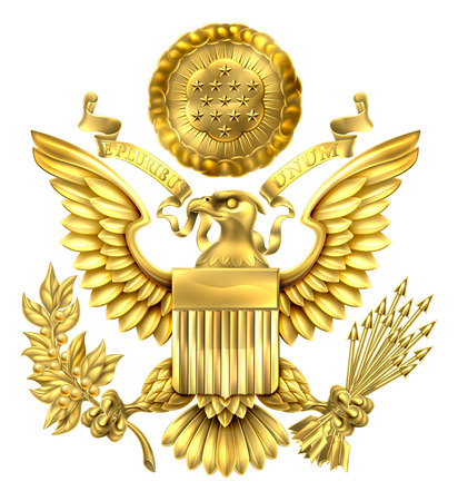 Gold Great Seal of the United States American eagle design with bald eagle holding an olive branch and arrows with American flag shield. With E pluribus unum scroll  and stars glory over his head. Illustration