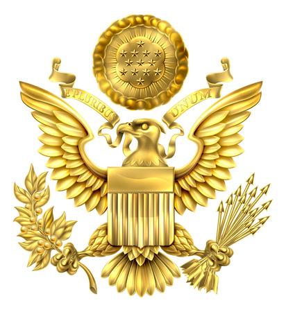 Złoto Wielka Pieczęć Stanów Zjednoczonych z amerykańskiego wzoru orła Bielik trzyma gałązkę oliwną i strzały z flagi amerykańskiej tarczy. Z E Pluribus unum przewijania i gwiazdy chwały nad głową. Ilustracje wektorowe