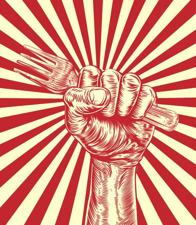 ビンテージの宣伝ポスターの木にお金を保持している拳のオリジナルのデザインのカット スタイル  イラスト・ベクター素材