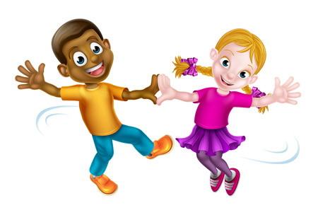 Two cartoon children, a black boy and a white girl, dancing