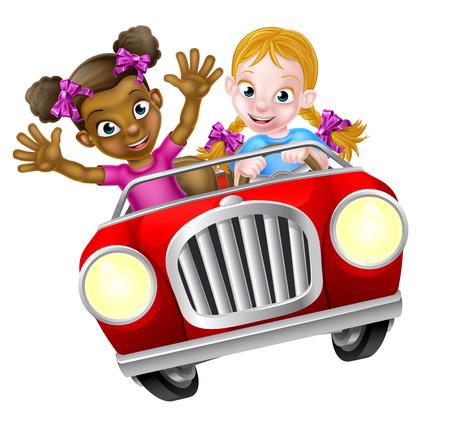 Dos chicas de dibujos animados que se divierten conduciendo rápidamente en un coche