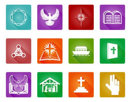Un conjunto de iconos y símbolos religiosos cristianos