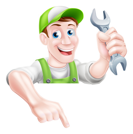A happy cartoon plumber or mechanic man holding a spanner or wrench and pointing down