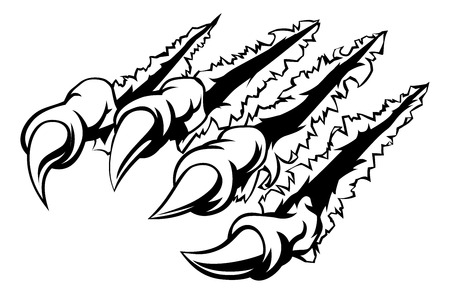 Monster claw ripping, tearing or scratching through the background Illustration