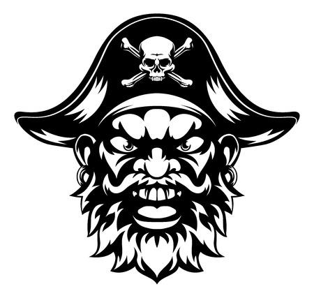 Una mascota de los deportes piratas de dibujos animados
