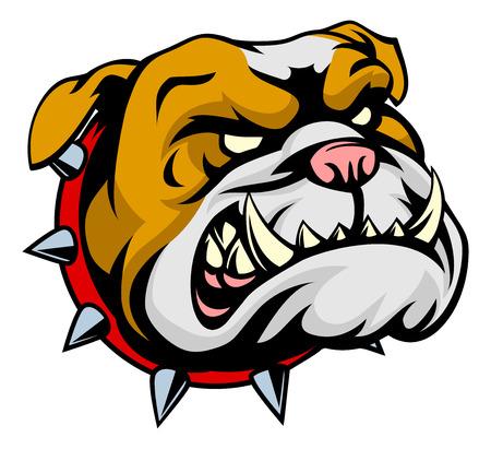 Un perro bulldog de dibujos animados malo que mira en un collar de pinchos Ilustración de vector
