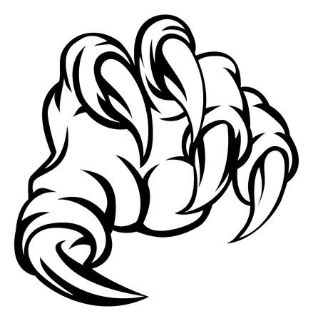モンスターの爪手図  イラスト・ベクター素材