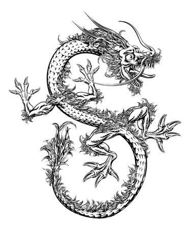 A black and white illustration of a Chinese or Japanese style oriental dragon