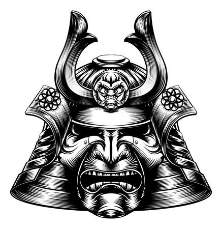 Una maschera samurai giapponesi e casco in stile xilografia Archivio Fotografico - 54588236