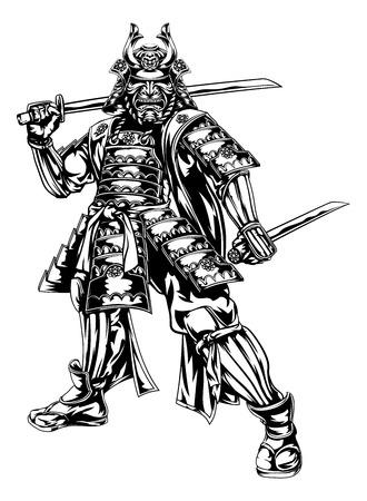 Ilustracja z japońskiego samuraja wojownik trzyma dwa miecze