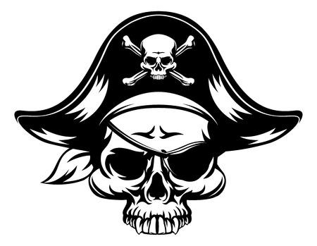 Ein Pirat Schädel ein Tri Mais Kapitänen Hut und eine Augenklappe tragen