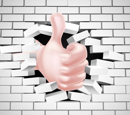Conceptuele illustratie van een hand met een duim omhoog te breken door een bakstenen muur Vector Illustratie