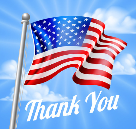 Memorial Day or Veterans Day design of a Thank You and a waving American Flag on a flag pole Vectores