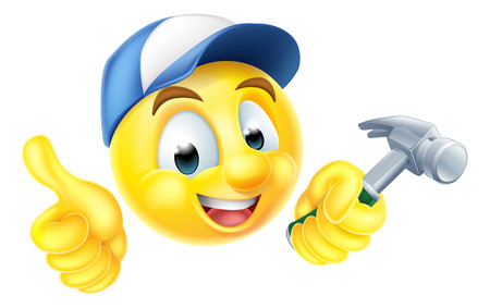 Cartoon emoji emoticon smiley face carpenter character holding a hammer Vectores