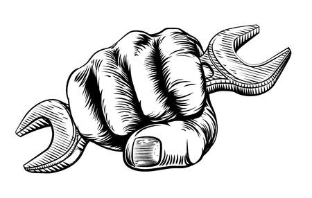 ビンテージ木版画木版画のスタイルをエッチングでスパナを持って拳の手  イラスト・ベクター素材