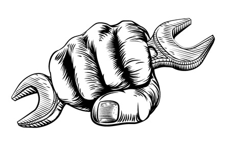 A hand in a fist holding a spanner in a vintage woodcut woodblock etching style