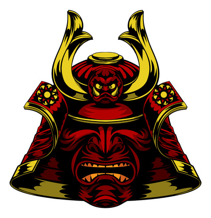 A scary red Samurai Mask Helmet