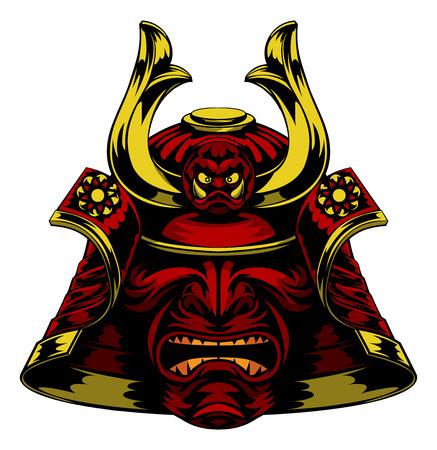 Una paura rosso Samurai Helmet Mask