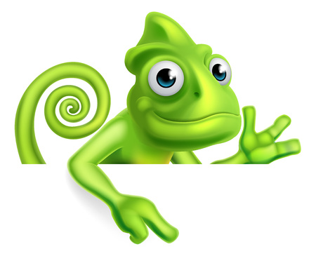 A green cartoon chameleon lizard character mascot pointing down at a sign