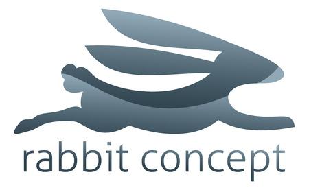 Konijnconcept icoon van een gestileerd konijn dat snel of springt