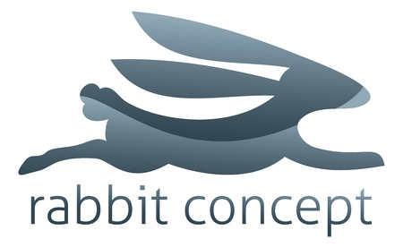 Rabbit concept icon of a stylised rabbit running fast or jumping