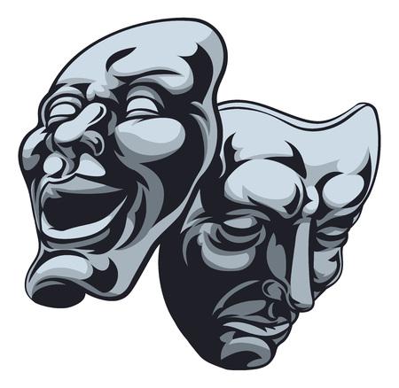 イラスト劇場喜劇と悲劇のマスク 1 つは幸せと悲しみ 写真素材 - 54799331