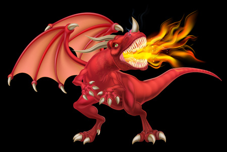 An illustration of a mean looking fantasy fairy tale red fire breathing dragon