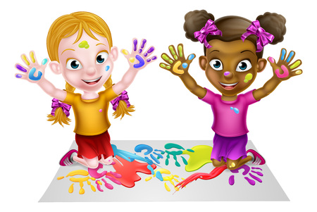 Two cartoon girls being creative with lots of paint Illustration