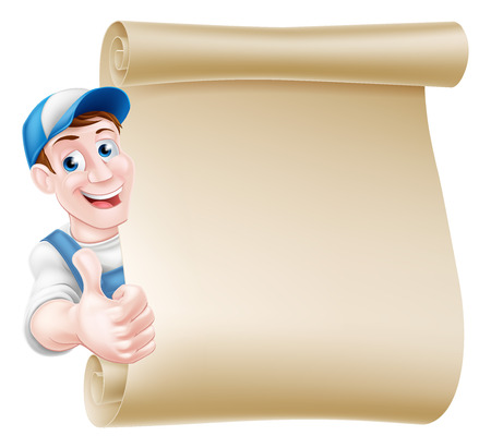 Cartoon mechanic, plumber, handyman, decorator or gardener leaning around a scroll and giving a thumbs up