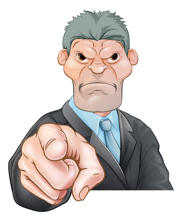 A threatening mean looking cartoon businessman, manager, boss or office bully pointing