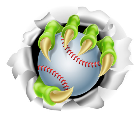 爪手背景のリッピング野球ボールのイラスト
