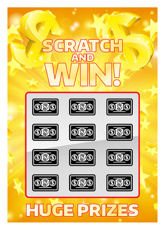 An illustration of a lottery instant scratch and win scratchcard