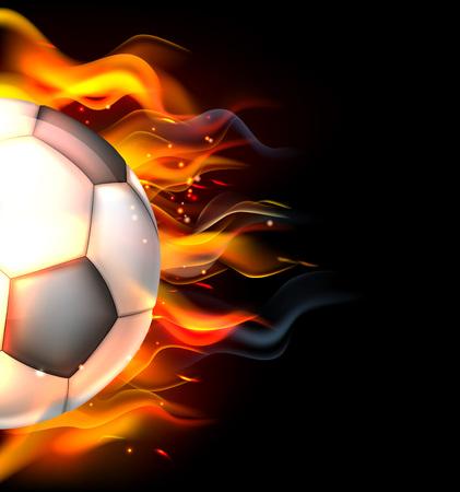 Una pelota de fútbol de fútbol en llamas sobre el concepto de fuego Foto de archivo - 55250558