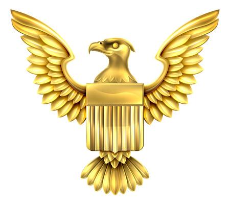 米国旗の盾とアメリカ合衆国の白頭鷲とゴールド金色金属アメリカン ・ イーグル デザイン  イラスト・ベクター素材