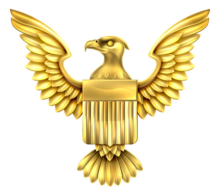 Gold golden metal American Eagle Design with bald eagle of the United States with American flag shield