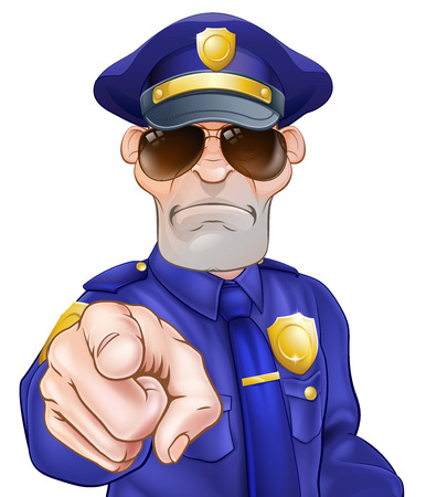 Serious cartoon police officer policeman in sunglasses pointing