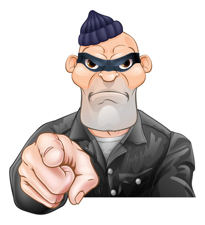 A threatening mean looking cartoon burglar or thief criminal, thug, bully or goon pointing