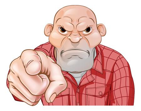 A threatening mean looking cartoon thug, bully or goon skin head pointing
