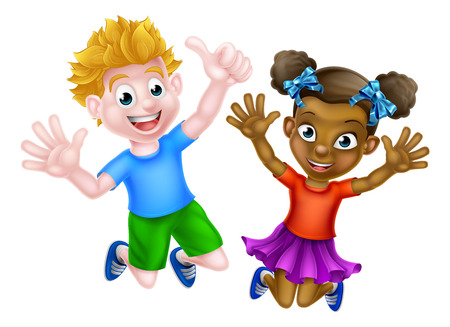 Happy cartoon young girl and boy, one black and one white, jumping for joy