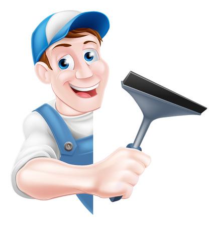 Un homme de nettoyage de fenêtre de bande dessinée dans un chapeau de casquette et salopette bleue tenant un outil racle