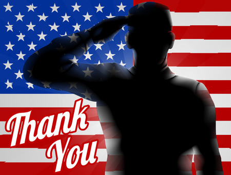 A silhouette soldier saluting with American Flag in the background with Thank You, design for Memorial Day or Veterans Day