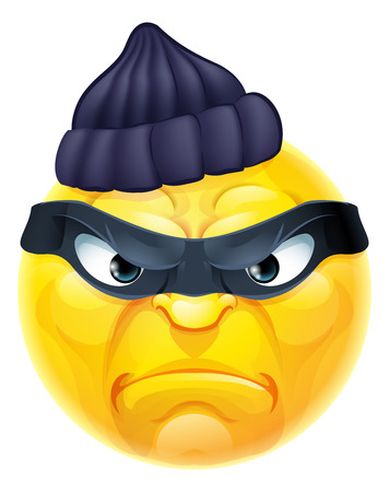 A cartoon emoticon emoji burglar or thief criminal character in mask and beanie hat 일러스트