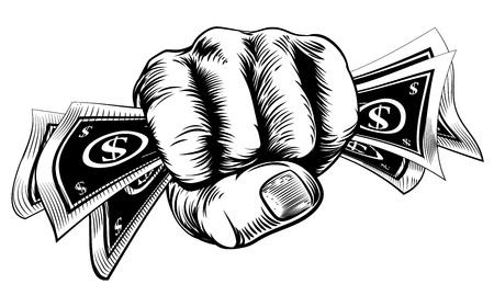 La mano en un puño con billetes de dinero en efectivo en dólares en un estilo de grabado de la vendimia