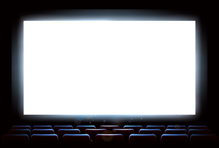 An illustration of the interior of a cinema movie theatre with copyspace on the  screen Ilustração