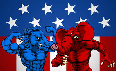 American politics election concept with animal mascots of the democrat and republican political parties, a blue donkey and red elephant fighting. Illustration