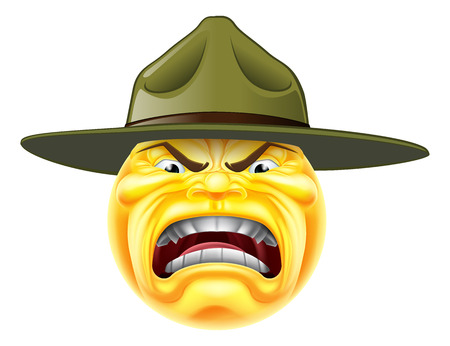 Een cartoon boze emoji emoticon leger boot camp drill sergeant schreeuwen Stock Illustratie