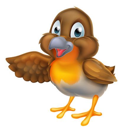 Een cartoon robin vogel karakter wijzend met hun vleugel