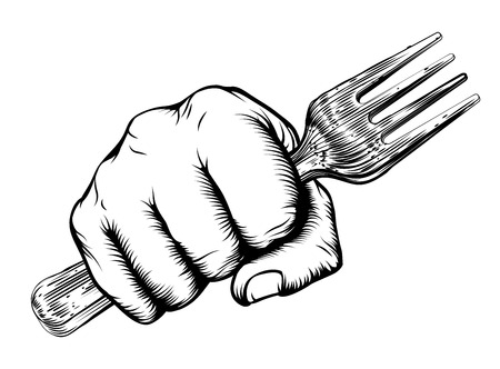 A vintage etched woodcut style fist holding a fork Illustration