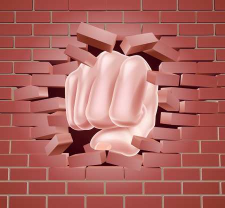 Fist breaking through a brick wall Ilustração